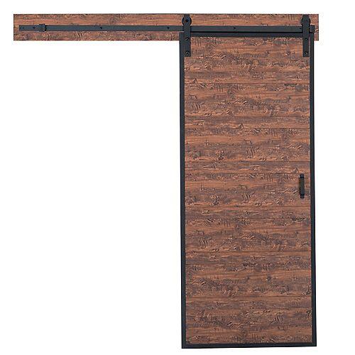 Porte coulissante Acadia au design horizontal de 36 x 84 po avec quincaillerie de porte coulissante