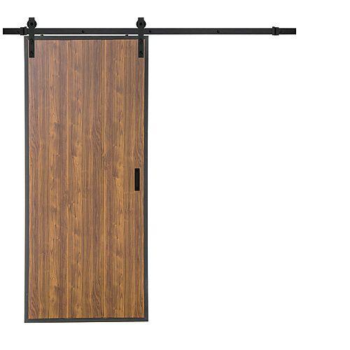 Porte coulissante Toffee Pine au design vertical de 36 x 84 po quincaillerie de porte coulissante
