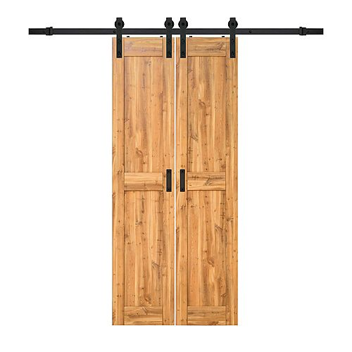 18 inch x 84 inch Pine Two Panel Biparting Rustic Barn Door with Modern Sliding Door Hardware Kit