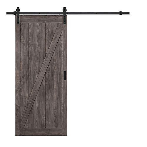 36 inch x 84 inch Iron Age Z Design Rustic Barn Door with Modern Sliding Door Hardware Kit