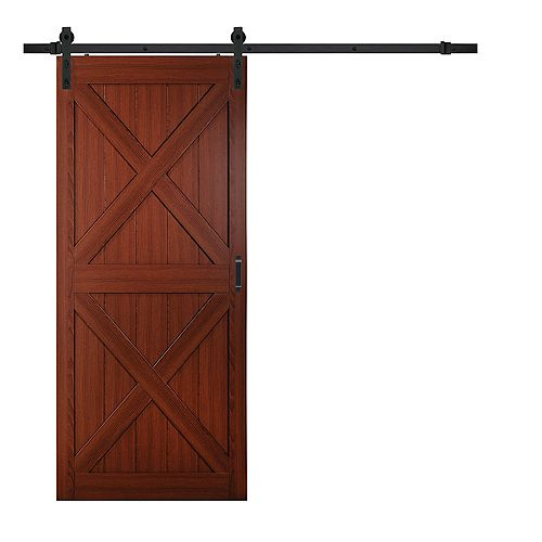 36 inch x 84 inch Cherry Double X Design Rustic Barn Door with Modern Sliding Door Hardware Kit