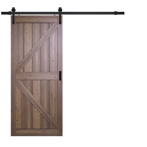 36 inch x 84 inch Gunstock Oak K Design Rustic Barn Door with Modern Sliding Door Hardware Kit