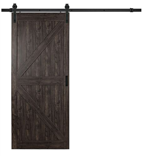 36 inch x 84 inch Iron Age K Design Rustic Barn Door with Modern Sliding Door Hardware Kit