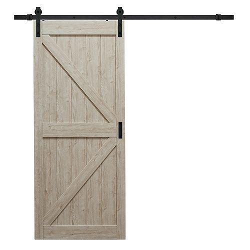 Porte coulissante Sandstone K de 36 x 84 po avec quincaillerie moderne de porte coulissante