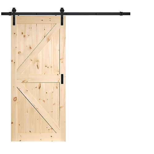 36 inch x 84 inch Pine K Design Rustic Barn Door with Modern Sliding Door Hardware Kit