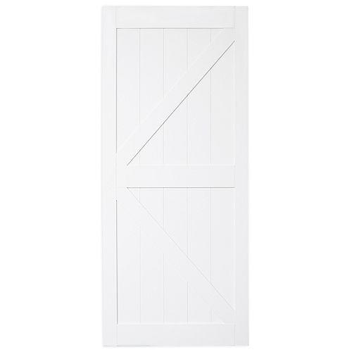 Porte coulissante pré-percée Bright White K de 36 x 84 po