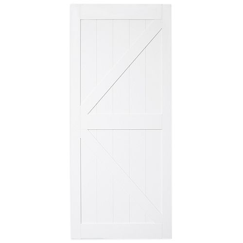 42 inch x 84 inch Bright White K Design Rustic Pre-Drilled Barn Door Slab
