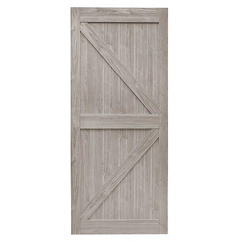 42 inch x 84 inch Silver Oak K Design Rustic Pre-Drilled Barn Door Slab