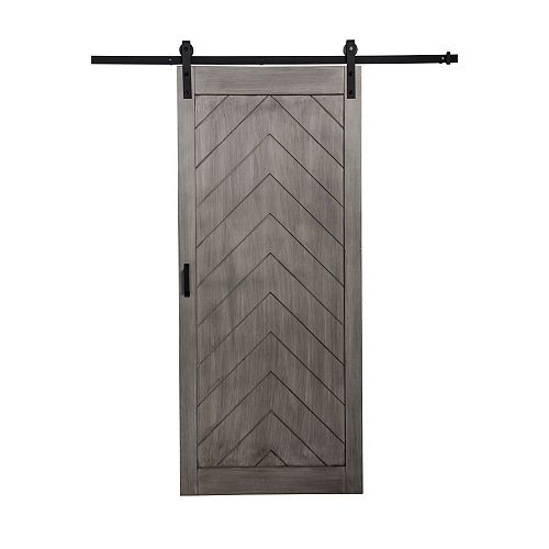 36 inch x 84 inch Nickel Herringbone Rustic Barn Door with Hardware Kit & So ft. Close Mechanism