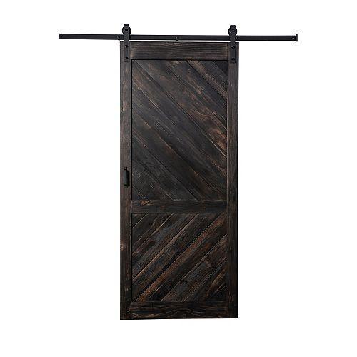 Coffee Bean Stain Angled Plank quincaillerie moderne de porte coulissante et mécanisme souple