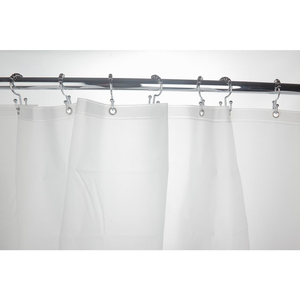 Glacier Bay 48-inch to 72-inch Extendable Curved Shower Rod in Chrome with Grey Shower Curtain and White Liner