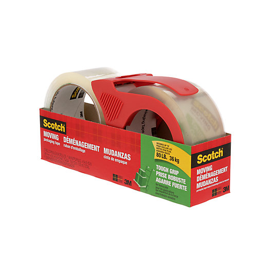 Tough Grip Moving Packaging Tape w/ Dispenser 3500-2-1RD, 1.88 inch x 54.6 yd, 2/Pack