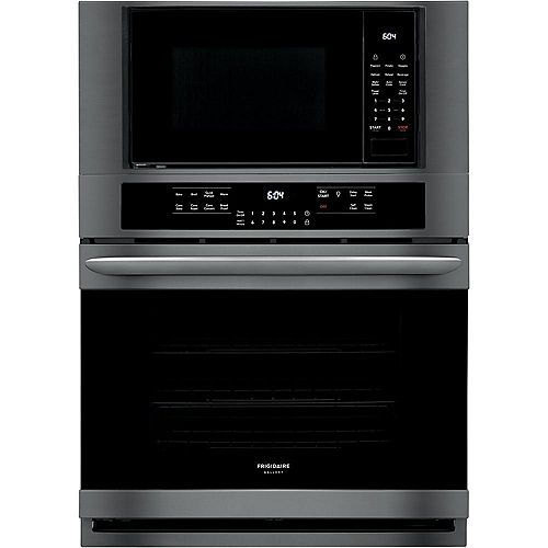 Frigidaire Gallery 30-inch 5.1 cu. ft. Electric True Convection Wall Oven with Built-In Microwave in Black Stainless Steel