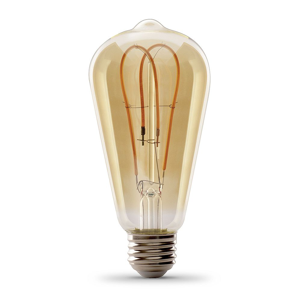 Feit Electric 60W Eq ST19 Soft White (2000K) Dimmable Amber Glass Filament Vintage Edison Style LED Light Bulb