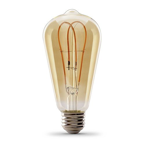 Feit Electric 40W Equivalent ST19 Dimmable Amber Glass Filament Vintage Edison LED Light Bulb Warm White (2000K)