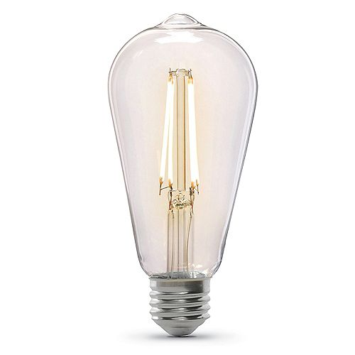 60W Equivalent ST19 Dimmable Clear Glass Filament Vintage Edison LED Light Bulb Warm White 2100K