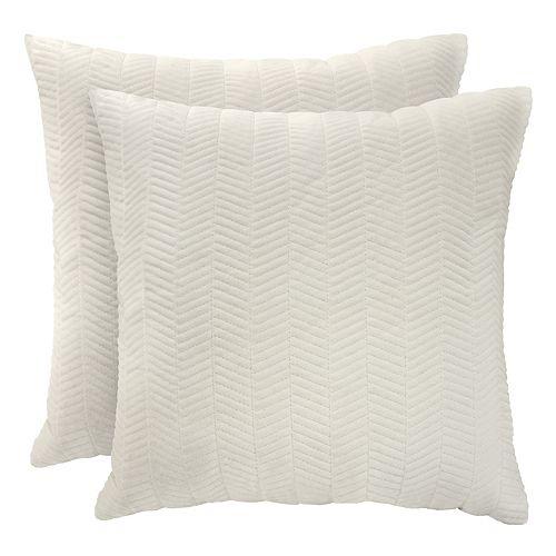 Coussin décoratif à motif de chevrons matelassé en polyester assorti, 18x18po, ens. de 2