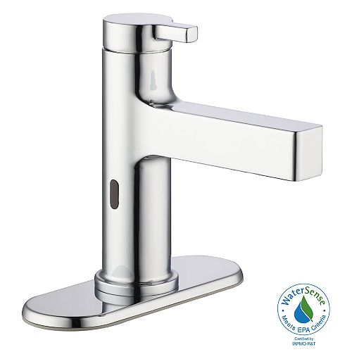 Touchless Bathroom Faucet in Polished Chrome with Drain Assembly