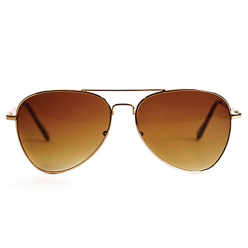 Polarized Gold Aviator with Tortoise Arms and Gradient Amber Lens