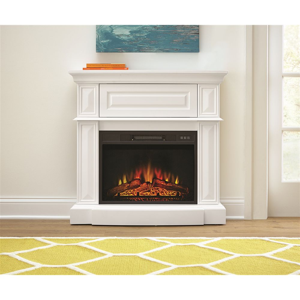 StyleWell 38-inch Electric Fireplace in White
