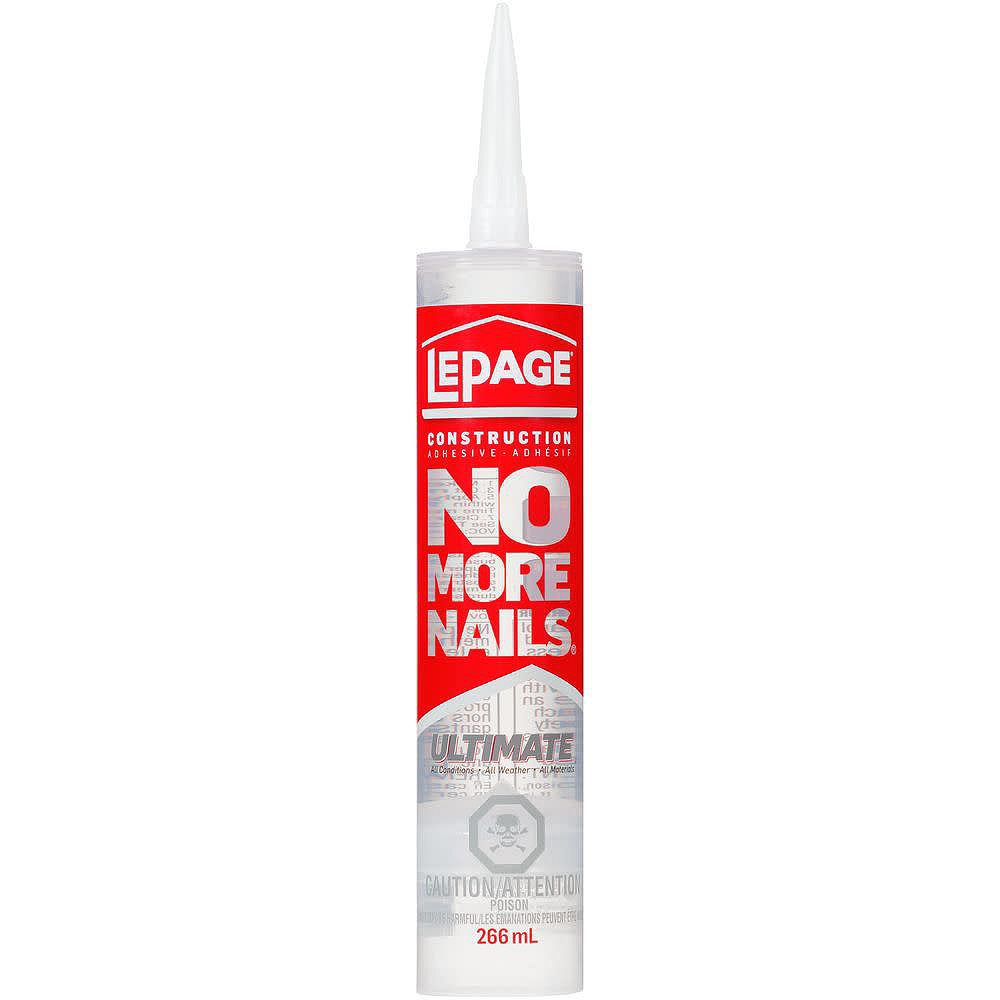LePage Adhésif de construction polyvalent Ultimate No More Nails, 266 mL, transparent