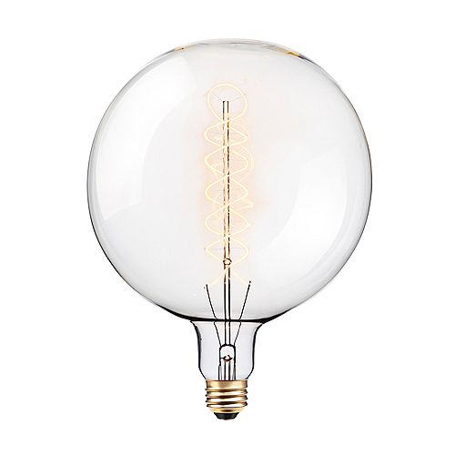 Globe Electric Oversized Round Vintage Edison 100W Clear Glass Dimmable Incandescent Light Bulb
