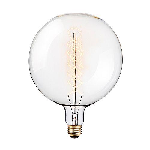 Ampoule incandescente ronde Vintage Edison de 100W en verre transparent à intensité variable