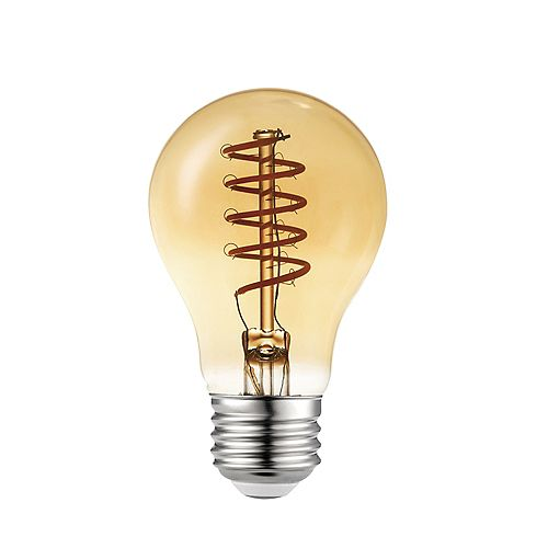 60W Equivalent Sunset Glow (2000K) A19 Flexible Filament Dimmable Amber Vintage Edison LED
