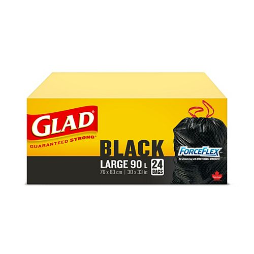 Glad Black Garbage Bags - Large 90 Litres - ForceFlex, Drawstring,  24 Trash Bags