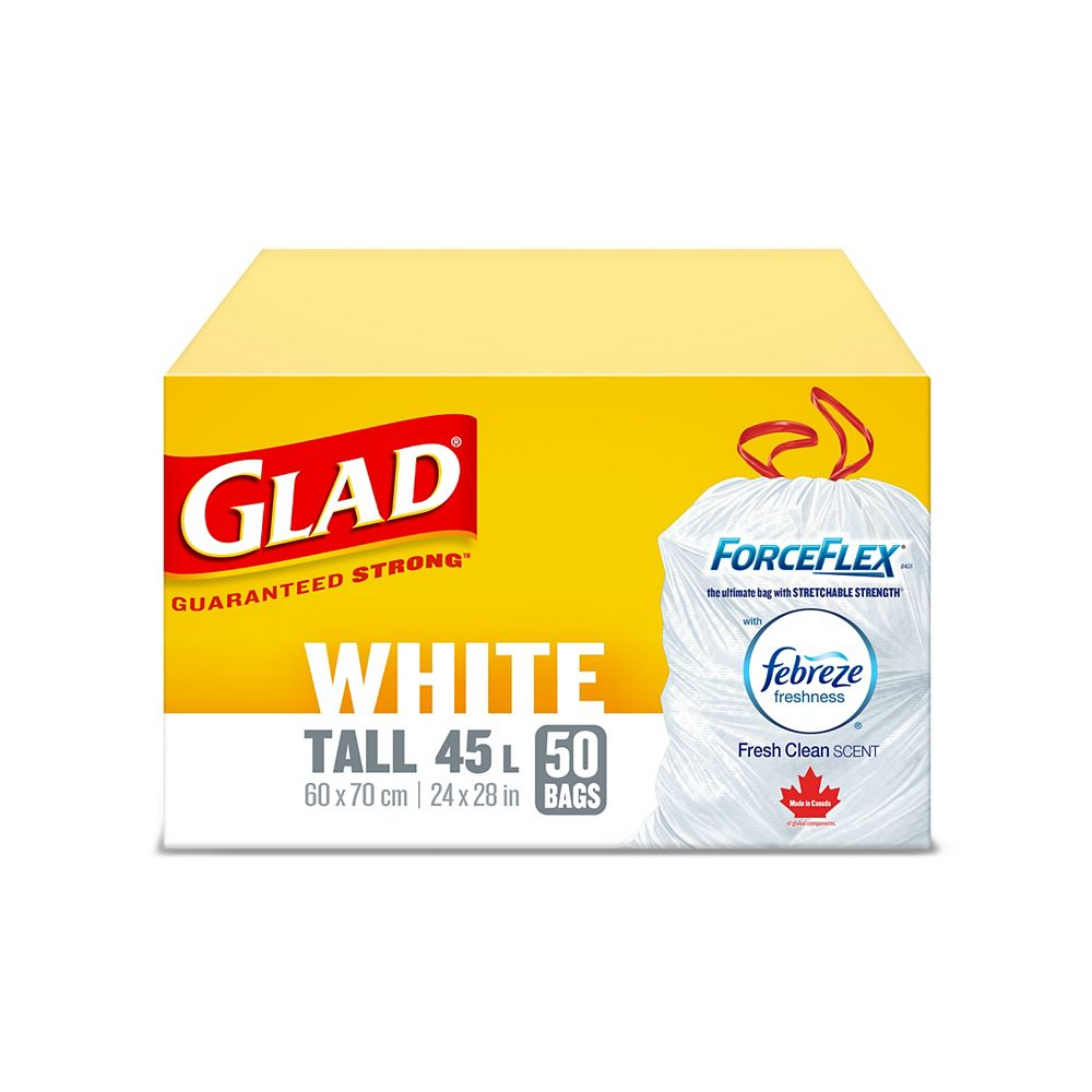 Glad White Garbage Bags - Tall 45 L ForceFlex, Drawstring, with Febreze Fresh Clean Scent, 50 Bags