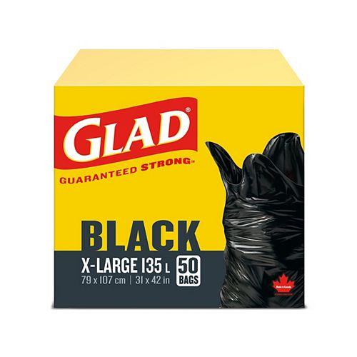 Très grands sacs à ordures noirs de, boîte de 50 sacs à ordures de 135 L