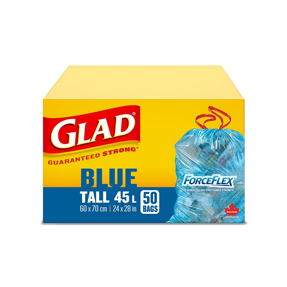 Glad 45 L Tall Blue ForceFlex Recycling Bags with Drawstring (50-Count)