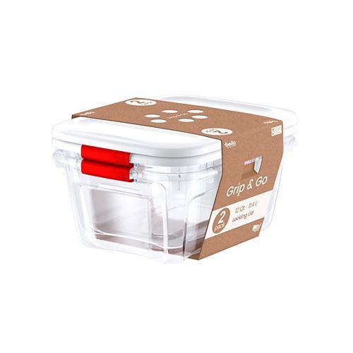 Bella Storage Solution 2PK 11.4L Bac de rangement à loquets rouge