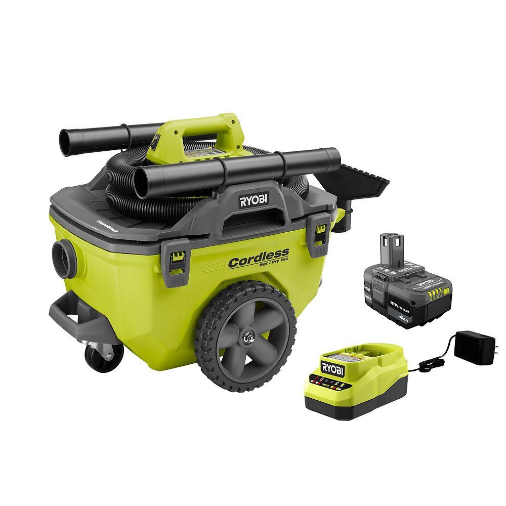 RYOBI 18V ONE+ 6 Gallon Kit d'aspirateur eau et poussière avec batterie de 4.0 Ah