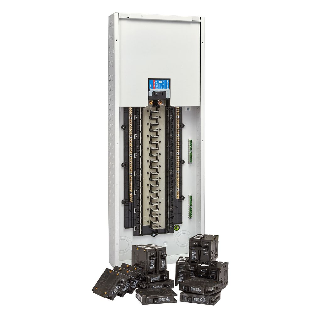 EATON Panneau de distribution de 200 A à 40/80 circuits, avec panneau et disjoncteur enfichable neutre
