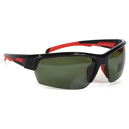 Lunettes de soleil sport noir avec accent rouge