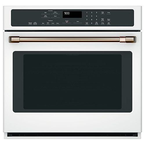 Café 30-inch Electric Self-Cleaning Single Convection Wall Oven in Matte White
