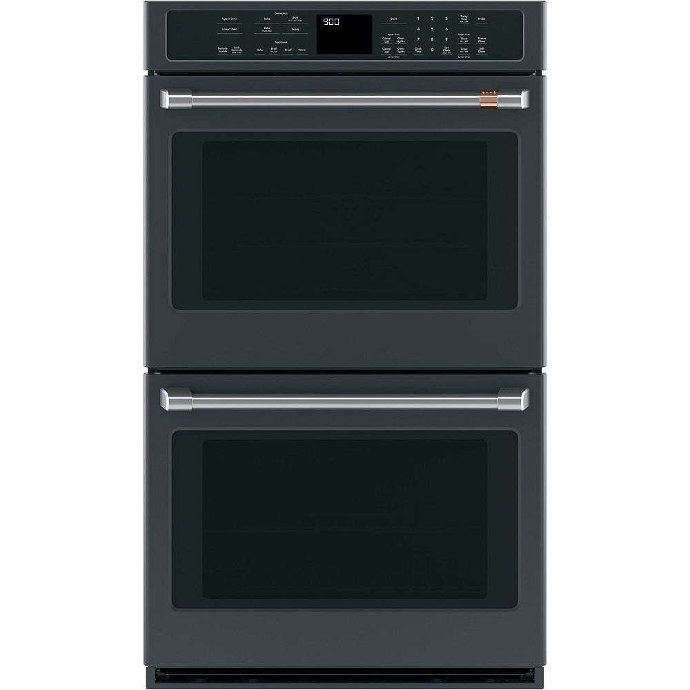 Café 30-inch Built-In True European Convection Double wall oven in Matte Black