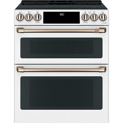 Café 7 cu ft. Induction Double Oven Slide-In Range in Matte White