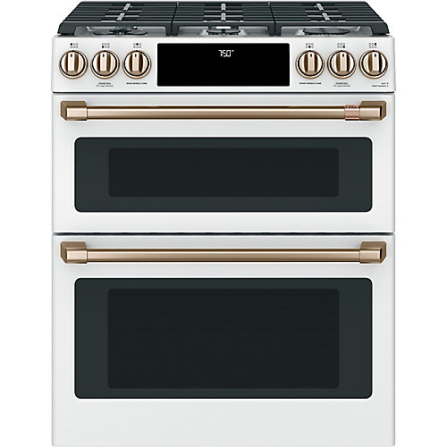 6.7 cu. ft. Gas Double Oven Slide-In Range with True Convection in Matte White