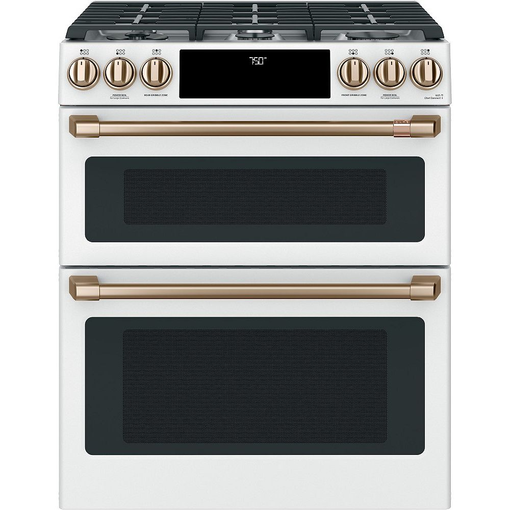 Café 6.7 cu. ft. Gas Double Oven Slide-In Range with True Convection in Matte White