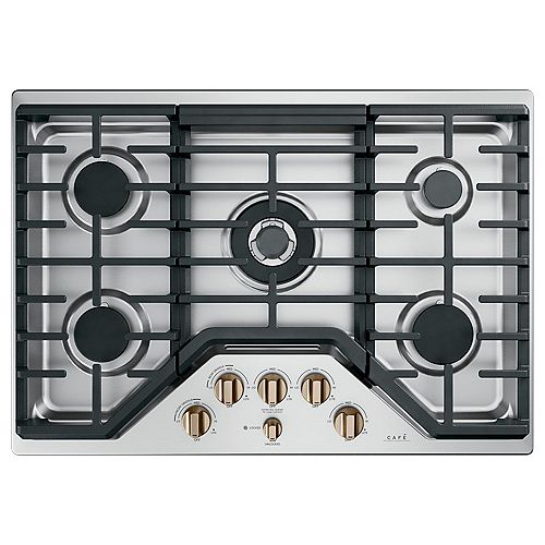 Café 30-inch Built-In Edge-to-Edge Gas Cooktop with 5 Burners in Stainless Steel