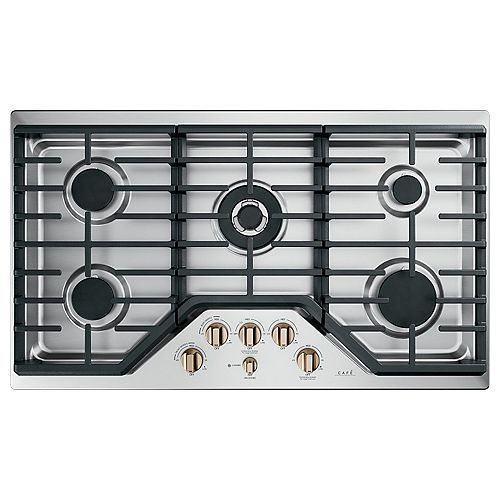 Café 36-inch Built-In Edge-to-Edge Gas Cooktop with 5 Burners in Stainless Steel
