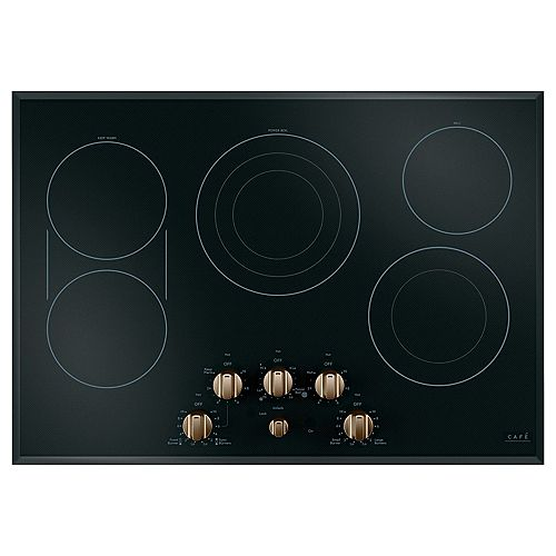 Café 30-inch Electric Cooktop with customizable knobs and 5 Elements in Black and Brushed Bronze