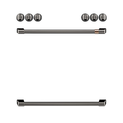 44-inch Front Control Electric Knobs and Handles in Brushed Black (8-Piece)