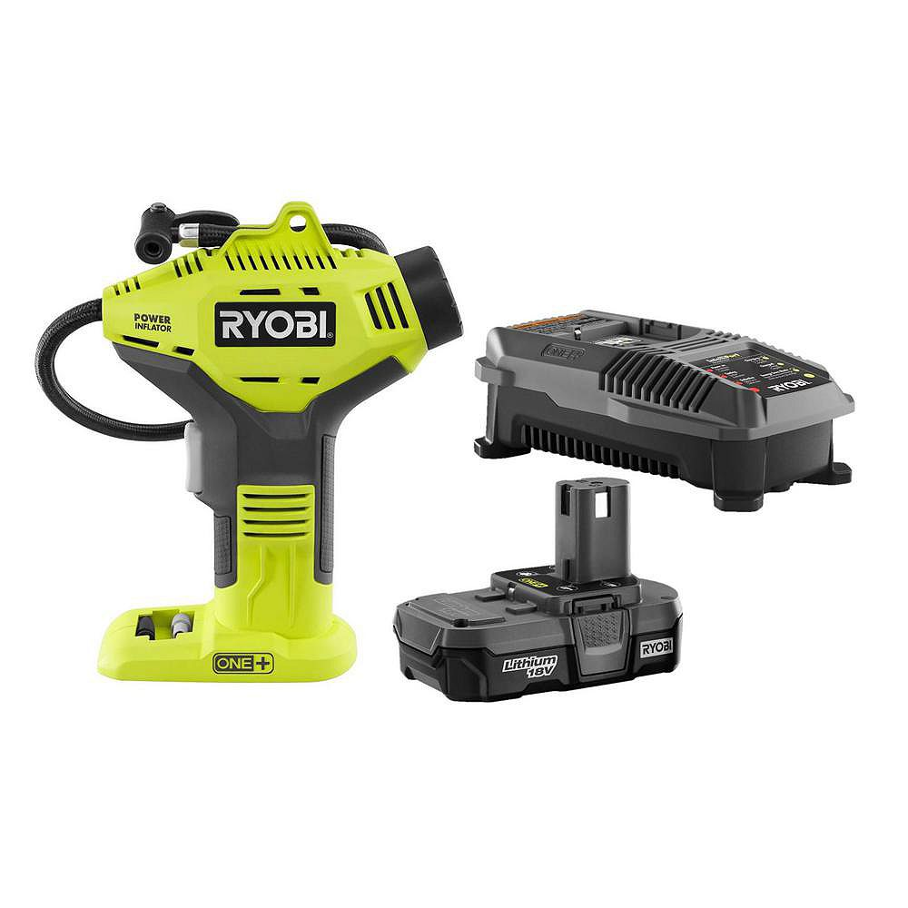 RYOBI 18V ONE+ Lithium-Ion Cordless Power Inflator Kit with 1.3 Ah Battery and 18V Charger