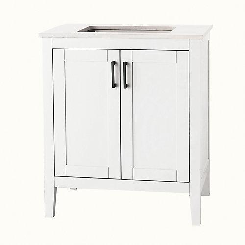 Ellia 30-inch 2-Door Bathroom Vanity in White with Engineered Stone Top in Carrera