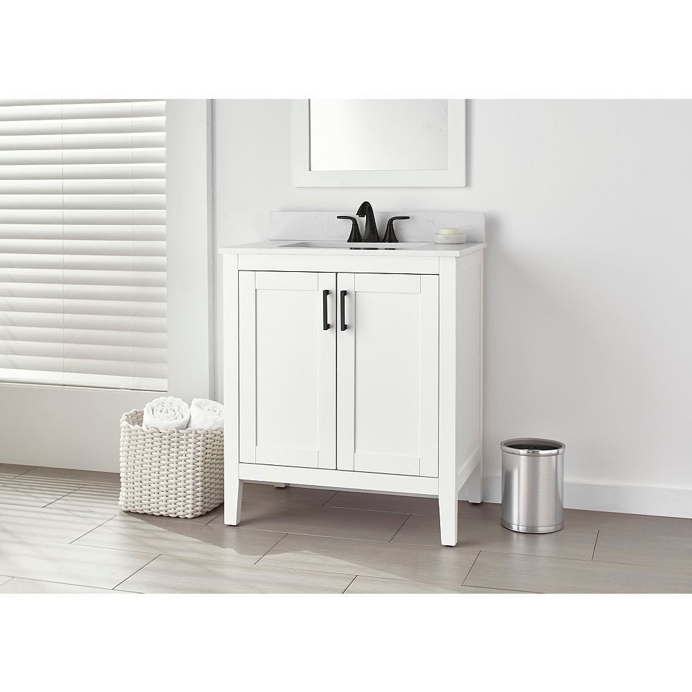 Home Decorators Collection Ellia 30 Inch 2 Door Bathroom Vanity In White With Engineered S The Home Depot Canada