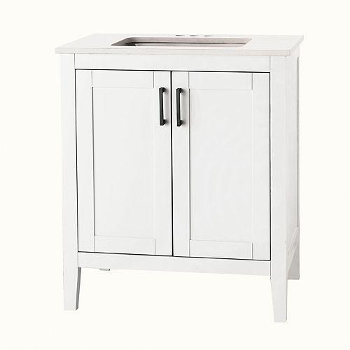 Home Decorators Collection Ellia 30-inch 2-Door Bathroom Vanity in White with Engineered Stone Top in Carrera
