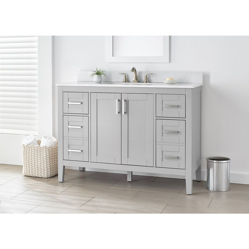 Home Decorators Collection Ellia 48 Inch Vanity In Grey With White Carrera Top The Home Depot Canada